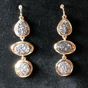 Triple Druzy Dangle Earrings
